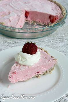Gluten free, sugar free, nut free, frozen strawberry cheesecake pie. (sugarfreemom). Can sub other berries.