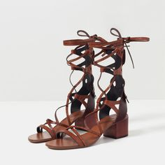LACE - UP LEATHER SANDALS-View all-SHOES-WOMAN | ZARA Philippines (475 PLN) ❤ liked on Polyvore featuring shoes, sandals, leather sandals, lace-up sandals, genuine leather shoes, laced sandals and leather lace up shoes