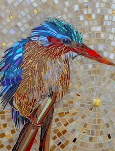 Kingfisher Card - from an original glass mosaic of a Malachite Kingfisher