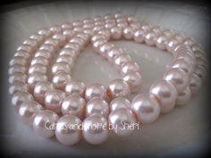 Glass Pearls  Pale Pink  80 beads by CardsAndMoreBySheri on Etsy, $7.99