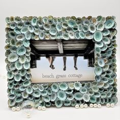 Artisan handmade seashell frame featuring aqua limpet shells. Coastal decor, beach gifts, beach decor, seashell decor Seashell Picture Frames, Seashell Frame, Beach Grass, Unique Wedding Gifts, Coastal Decor, Sea Shells, House Warming, Nautical, Aqua