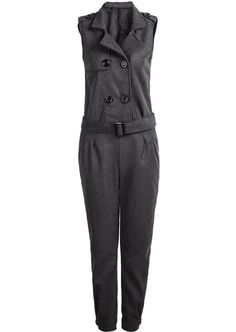 Grey Sleeveless Lapel Belt Jumpsuit 35.00