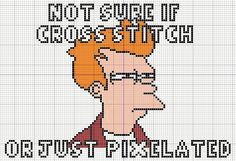 "Fry meme by Buzy Bobbins ""Not sure if cross stitch or just pixelated"""