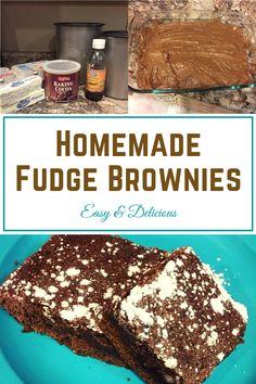 Easy Homemade Fudge Brownies Homemade Fudge Brownies, Boxed Brownies, Brownie Recipes, Fun Desserts, Baked Goods, Sweet Treats, Favorite Recipes, Yummy Food, Sweets