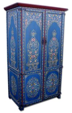 blue painted armoire...