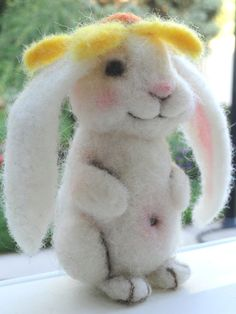 Needle Felted Rabbit Bunny Bloom Daisy MADE by TheWhimsicalHare
