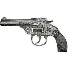 Fancy Engraved Revolver - Gun Weapon Steampunk - Digital Image - Vintage Art Illustration Antique Victorian
