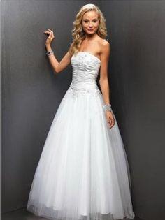 A-line Strapless Ruffles Sleeveless Floor-length Tulle White Prom Dress