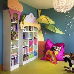Funny Wall Art Decoration and White Wall Storage in Preschool and Kindergarten Classroom Decorating Design Ideas Preschool Classroom Layout Decorations with Colorful Wall Cartoon Ideas