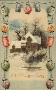 Christmas - Home in Winter Chinese Lantern Border c1910 Postcard