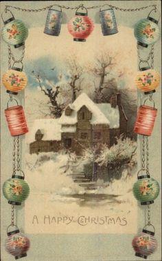 Christmas - Home in Winter Chinese Lantern Border c1910 Postcard