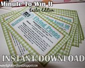 Minute To Win It Easter Edition Printable - Family Game Night, Classroom Party Fun  INSTANT DOWNLOAD
