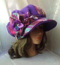 Newsboy cap designer hat fleece purple by Tatiana123