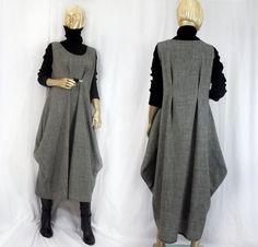 Lagenlook, wool, fashion dress, jumper, gray, maxi, long, plus size, shabby…