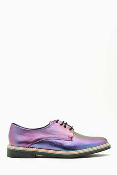 Miista Zoe Oxford - Black Hologram | Shop Flats at Nasty Gal #shoes #trendysnacks #fashionsnacks