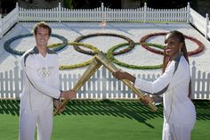 Andy Murray and Venus Williams carry Olympic torch at Wimbledon.  #tennis