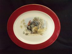 Homer Laughlin Turkey Platter Eggshell Maroon Cavalier J55NE 15x13 free ship