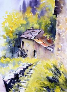 galerie - Didier Georges aquarelliste Watercolor Painting Techniques, Watercolor Landscape Paintings, Landscape Drawings, Seascape Paintings, Cool Landscapes, Oil Painting Abstract, Abstract Watercolor, Watercolour Painting, Landscape Art