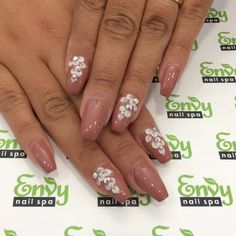 Tan Brown White Flower Nails Envy Nail Spa