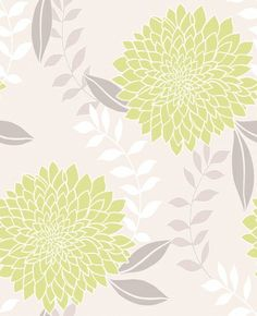 Clarissa Green (M0659) - Crown Wallpapers - A large chrysanthemum flower with a raised texture and pretty metallic glitter highlights. Showing in lime green and silver on a cream background - other colour ways available. Please request a sample for true colour match.