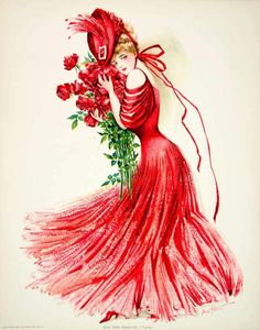 1907 Chromolithograph Maud Stumm Showgirl Edwardian Fashion Red Dress Hat Roses | eBay