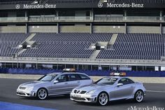 Silver SLK55 and C 55 AMG On Race Track