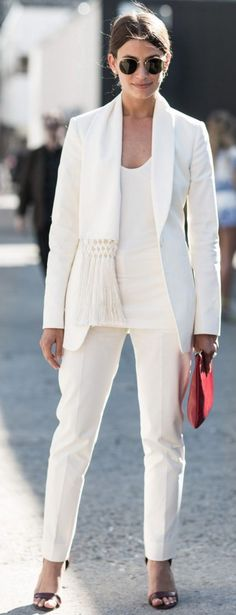 Evening inspiration – white suit  | A Love is Blind #evening women fashion outfit clothing style apparel @roressclothes closet ideas