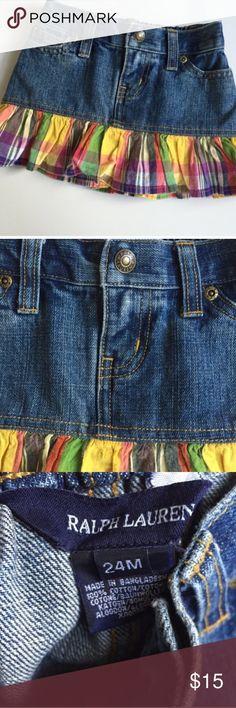 Ralph Lauren Denim & Plaid Skirt Sz 24 m Ralph Lauren denim and plaid skirt. Too cute! Size 24 months. Excellent condition. Ralph Lauren Bottoms Skirts