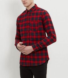 #Navy and red long sleeve check shirt  ad Euro 24.99 in #New look #Mens shop department shirts