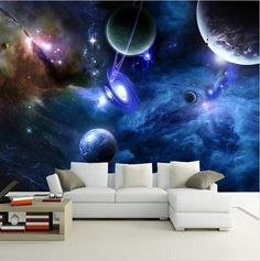 Beautiful universe planets background wallpaper. Three-dimension galaxy stars ceiling mural. Constellation photo wall decor home improvement. Free shipping. Wallpaper Floor, Photo Wallpaper, Wallpaper Murals, Bedroom Wallpaper, Wallpaper Online, System Wallpaper, Wallpaper Awesome, Graffiti Wallpaper, Wallpaper Paste