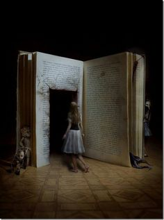 This picture is an interpretation of the wonder tale Alice in Wonderland. I enjoy this picture because it appears as if Alice is about to literally step into the book. Digital Foto, Creepy Photos, Foto Art, Stage Design, Set Design, Theatre Design, Photo Manipulation, Manipulation Photography, Dark Art