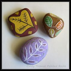 Fall Leaves Painted Rocks