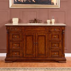 Shop for Silkroad Exclusive 58-inch Crema Marfil Marble Top Single Sink Bathroom Vanity. Get free delivery at Overstock.com - Your Online Furniture Outlet Store! Get 5% in rewards with Club O! - 16344835