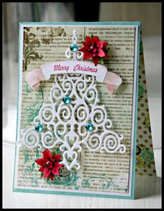 Christmas Tree Card using Spellbinders and JustRite Papercraft! Stamps