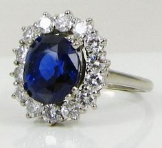 Antique French Art Deco GIA Certified 5 49ct Sapphire Diamond Engagement Ring