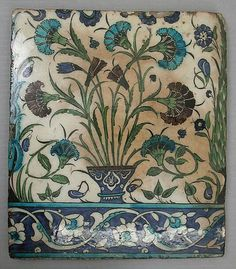 Tile, stonepaste, painted and glazed. Syria, circa century And they still make this same design today…. Islamic Tiles, Islamic Art, Islamic Motifs, Art Nouveau, Clay Tiles, Mosaic Tiles, Motifs Textiles, Art Ancien, Turkish Tiles