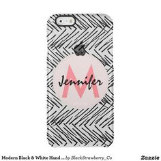 Modern Black & White Hand Drawn Zigzag Monogram Uncommon Clearly™ Deflector iPhone 6 Case