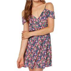 Little Floral Print Off-shoulder Dress | pariscoming