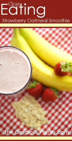 Ingredients: 1 1/2 cups ice cubes (approximate) 1 banana 1 cup frozen, whole strawberries 1/2 cup traditional oats 1 cup unsweetened almond milk (you can use regular milk too) 2 scoops 100% whey protein powder Honey to taste (optional) Directions: 1.Place all ingredients in blender and blend until smooth.