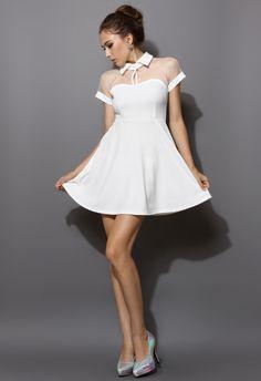 Mesh Peak Collar Skater Dress in White