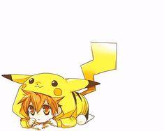 Kawaii anime boy in pokemon costume Kawaii Anime, Cute Anime Chibi, Kawaii Chibi, Cute Anime Boy, Pikachu Pikachu, Manga Anime, Anime Art, Anime Wolf, Reborn Katekyo Hitman