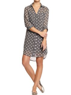 Women's Polka-Dot Chiffon Shirtdress