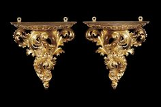 *A Finely Carved Pair of Giltwood Wall Brackets with acanthus scrolls supporting a moulded shelf carved with a stiff leaf border. French, Circa 1880.