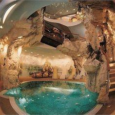 Indoor Pools, Indoor Jacuzzi, Lap Pools, Backyard Pools, Pool Landscaping, Outdoor Pool, Future House, Cave Pool, Mega Mansions