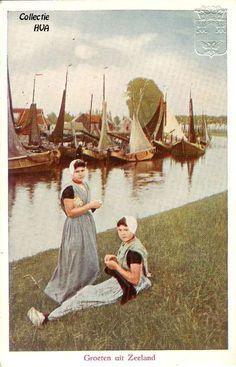 Breien aan de oever van het kanaal Arnemuiden