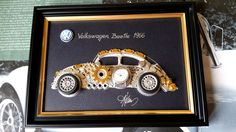 Volkswagen Beetle 1966 Code M 080, Car Collage decor, Steampunk Art, Unique Art by GoldGallery on Etsy