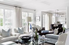 Contemporary White Living Room with Daybed