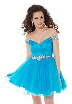 Mac Duggal 64506N Short Off-the-Shoulder Homecoming Dress, Turquoise, 12