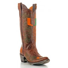 """Gameday Boots 13"""" Tall Leather University Of Miami Cowboy Boots"""