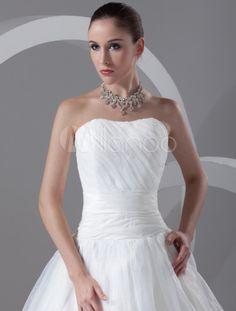 Vestido de novia marfil de organdí sin tirantes de cola larga-No.5